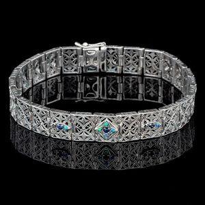 Sapphire & Opal 925 Sterling Filigree Bracelet 7in